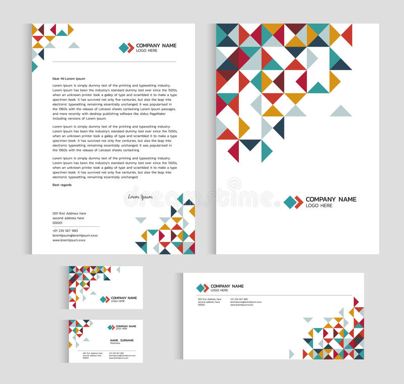 Układu szablonu rozmiaru A4 pokrywa, strony wizytówka i list, - niskiego poli- trójboka ostrego abstrakcjonistycznego wektoru ust ilustracji