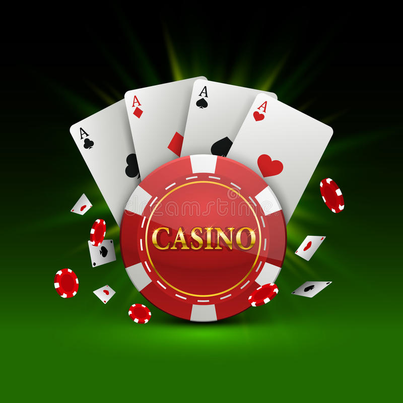 Układy scaleni i karty kasyna sztandar ilustracji