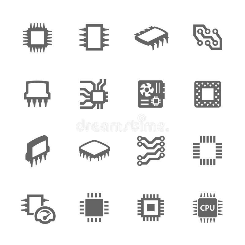 Układy scaleni i Microscheme ikony ilustracji