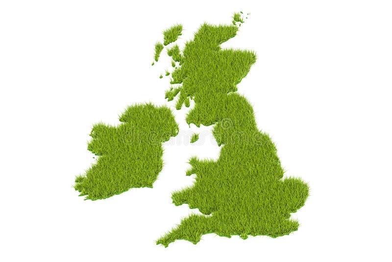 UK-översikt från grönt gräs, tolkning 3D stock illustrationer