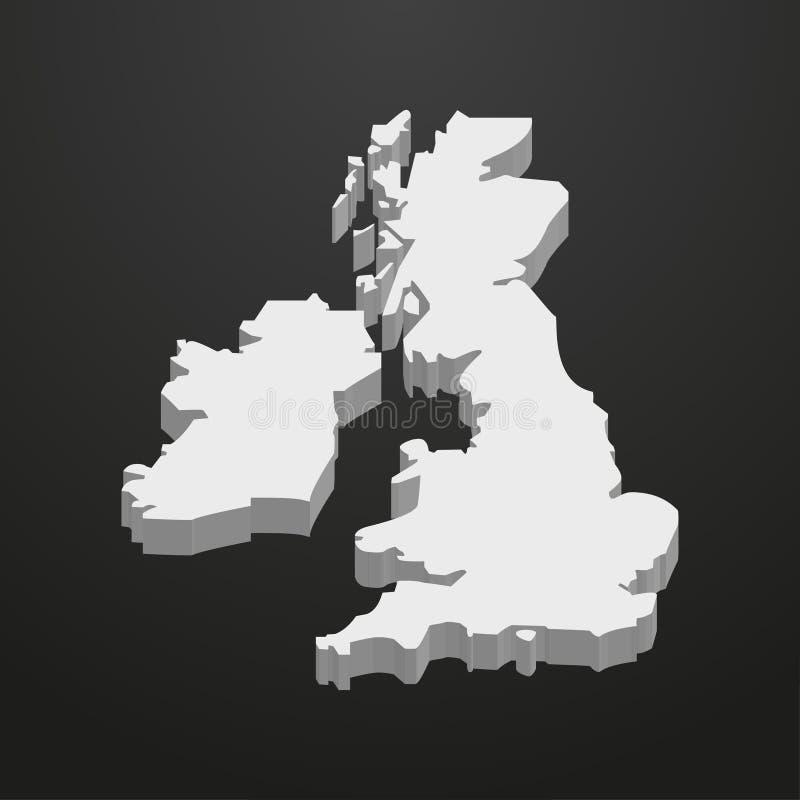 UK-översikt i grå färger på en svart bakgrund 3d vektor illustrationer