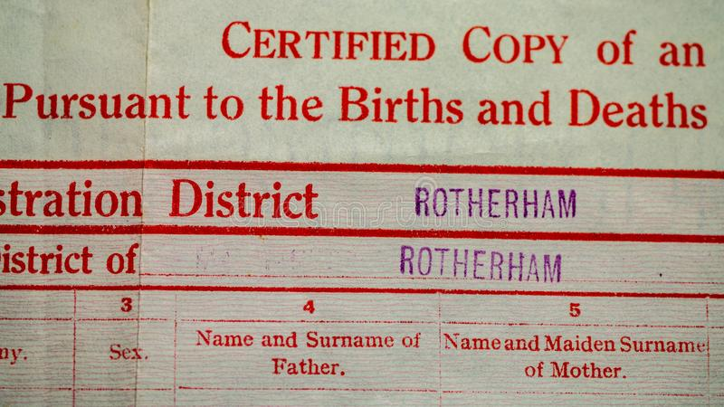 UK Birth Certificate stock images