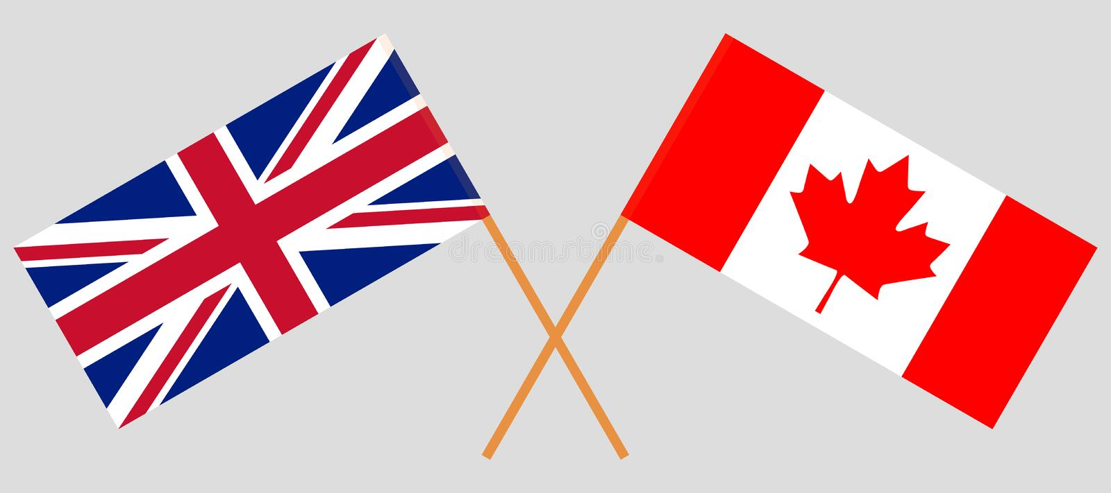 UK and Canada. The British and Canadian flags. Official colors. Correct proportion. Vector. Illustration royalty free illustration