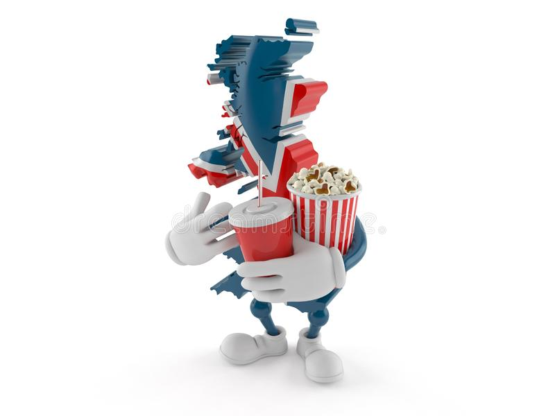 UK character with popcorn and soda. Isolated on white background. 3d illustration vector illustration