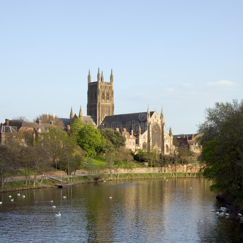 UK, City of Worcester. England, Worcestershire, the River Severn flowing past Worcester Cathedral in spring sunshine royalty free stock photography