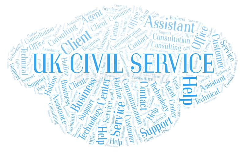 Uk Civil Service word cloud. Wordcloud made with text only royalty free illustration