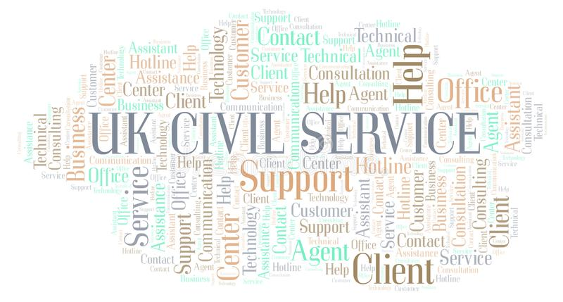 Uk Civil Service word cloud. Wordcloud made with text only vector illustration