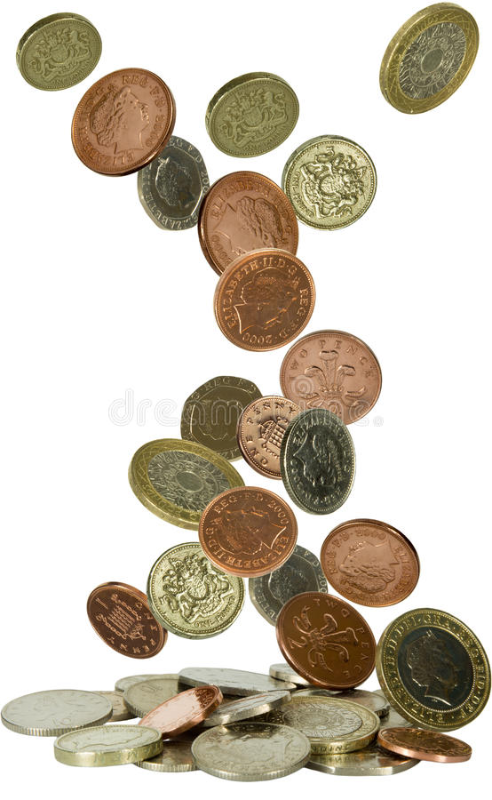 Uk coins falling stock image