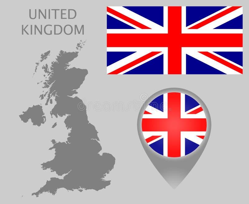 United Kingdom flag, blank map and map pointer. Colorful flag, map pointer and gray blank map of United Kingdom. High detail. Vector illustration royalty free illustration