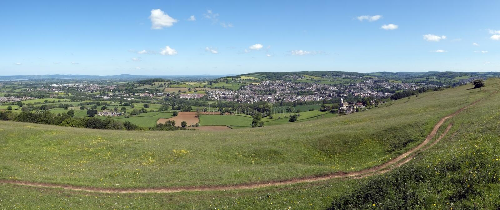 UK, Cotswolds, Gloucestershire, view over Selsley village stock photos