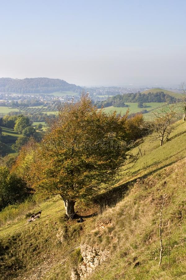 UK, Cotswolds, Uley Bury. England, Cotswolds, Gloucestershire, Uley Bury, autumn colour view from hilltop royalty free stock photo
