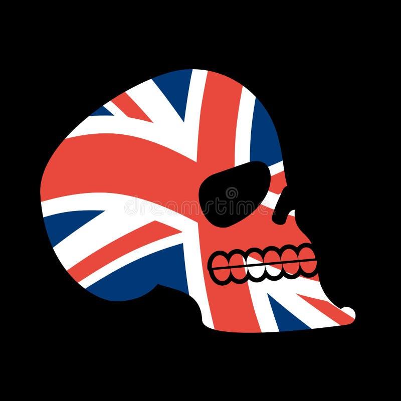 UK czaszka Głowa kościec i Brytyjski flaga Fan emblemat royalty ilustracja