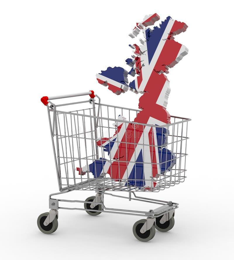 UK 3d map into shopping cart. 3d illustration vector illustration