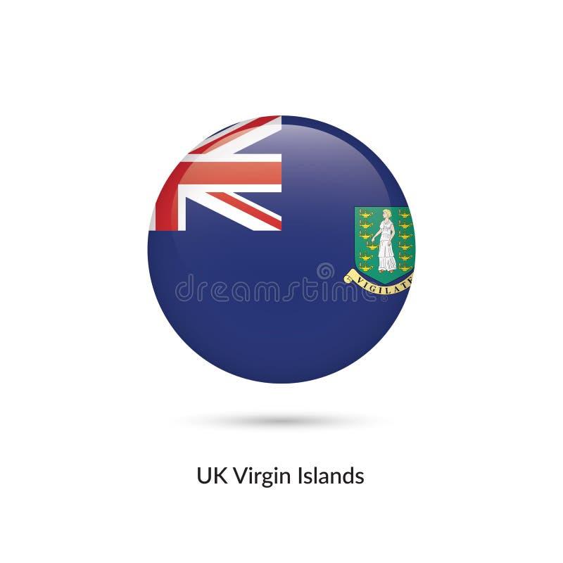 UK Dziewicze wyspy zaznaczają - round glansowanego guzika ilustracji