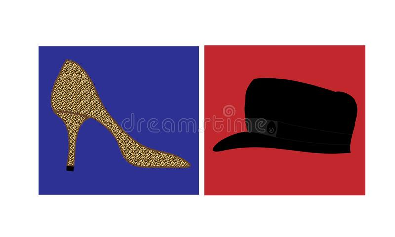 UK Elections. Vector illustration - Leopard skin shoe, suggesting Theresa May, on blue background representing UK Conservative Party opposite a Breton cap
