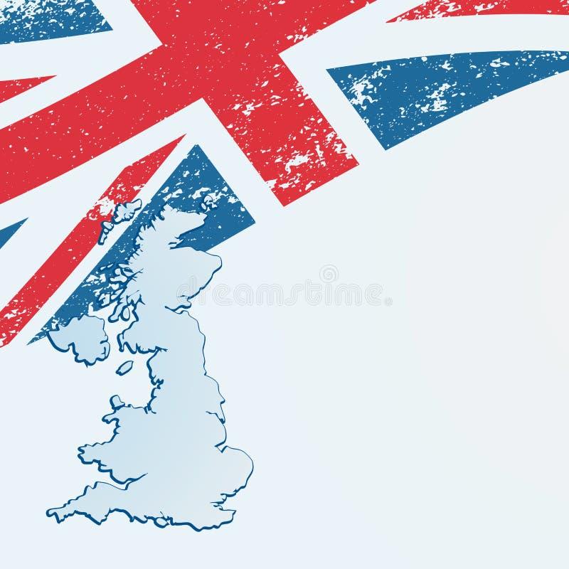 UK eller brittisk flagga eller översikt. vektor illustrationer