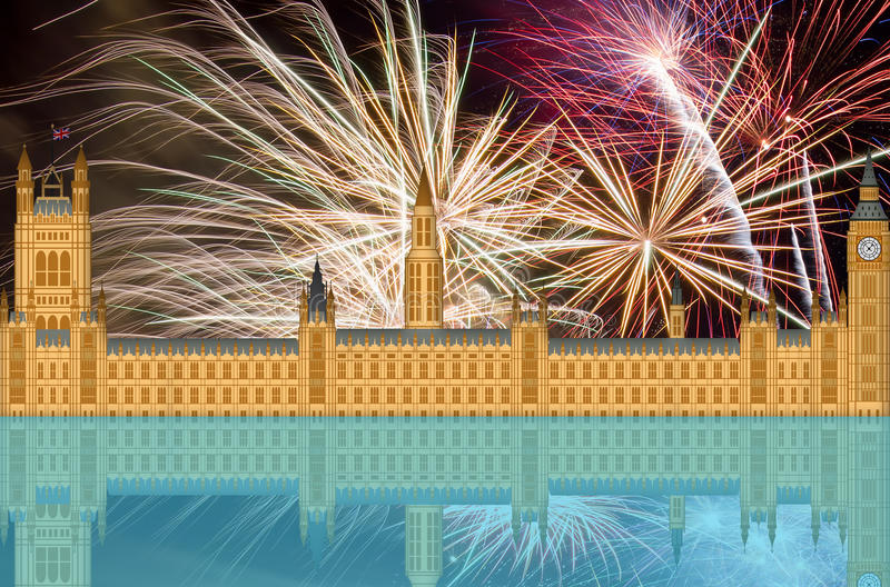 UK England London Skyline with Fireworks stock illustration