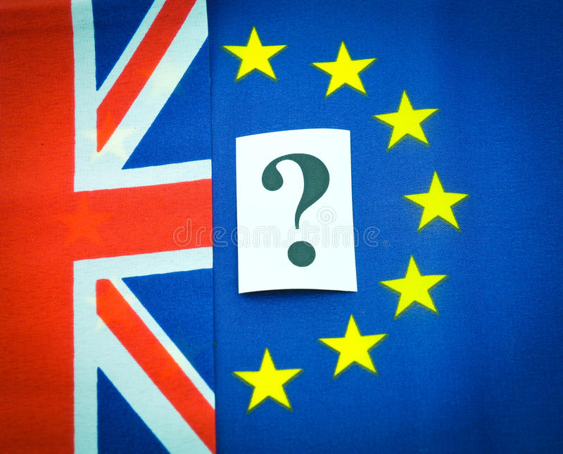 UK EU membership. Concept with flags and question mark stock photo