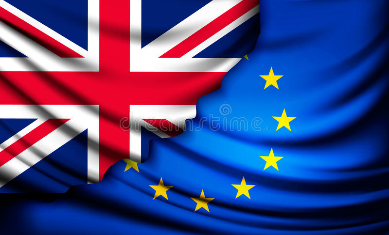 UK flag being tron away from EU flag. Brexit concept. royalty free illustration