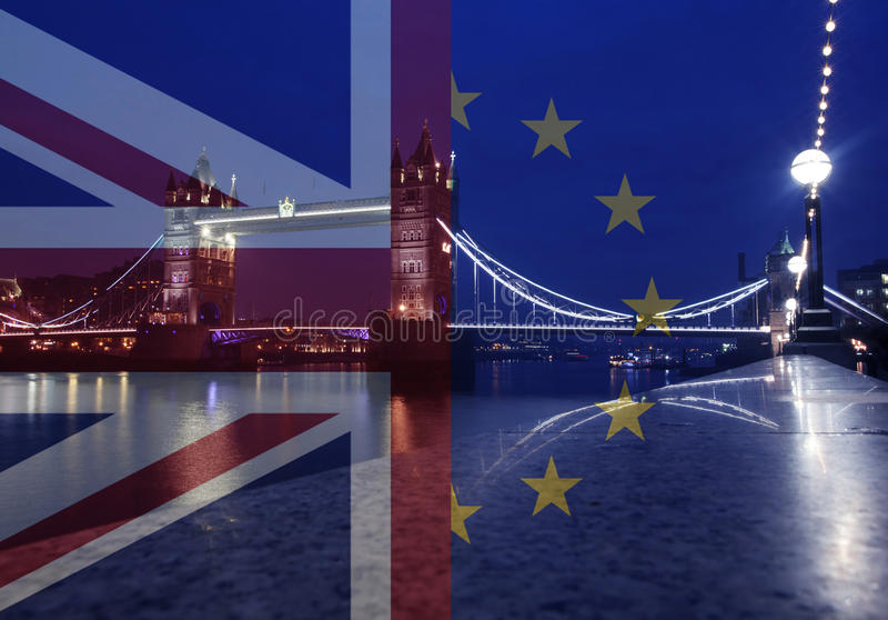 UK flag, EU flag and Tower Bridge. United Kingdom and European union flags combined, Tower Bridge in the background - UK votes to leave the EU, Brexit concept royalty free stock photo