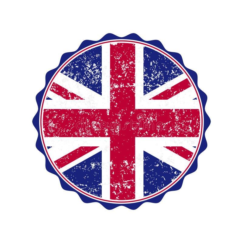 UK flaga znaczek z grunge również zwrócić corel ilustracji wektora ilustracja wektor