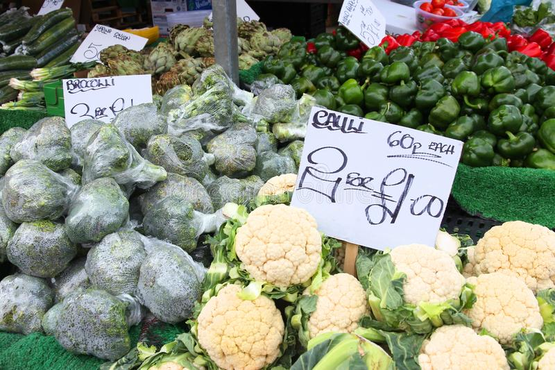 UK food market. Vegetable stand at a marketplace in Birmingham, United Kingdom. Farmers market royalty free stock photography