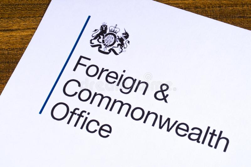 UK Foreign and Commonwealth Office. London, UK - March 12th 2019: Logo of the Foreign and Commonwealth Office, pictured on a piece of paper. The FCO is a royalty free stock photography