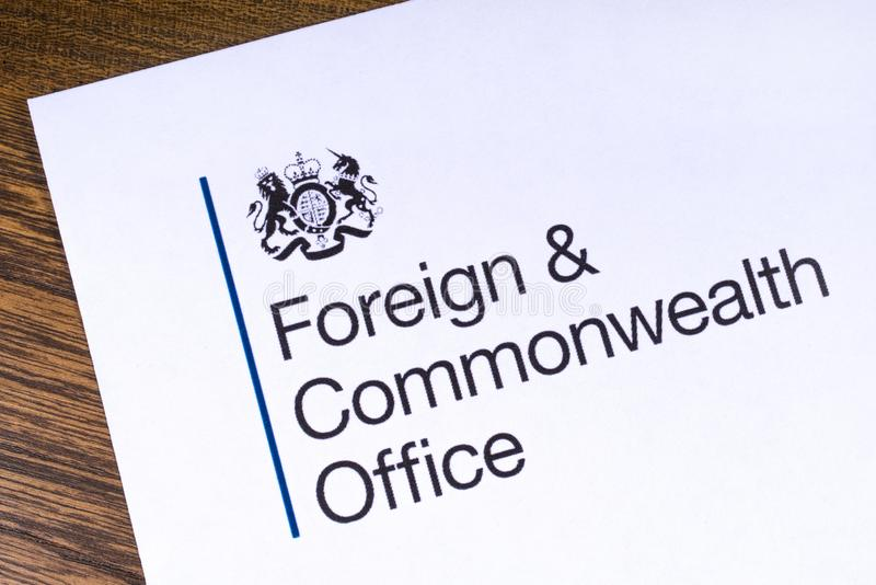 UK Foreign and Commonwealth Office. London, UK - March 12th 2019: Logo of the Foreign and Commonwealth Office, pictured on a piece of paper. The FCO is a royalty free stock images