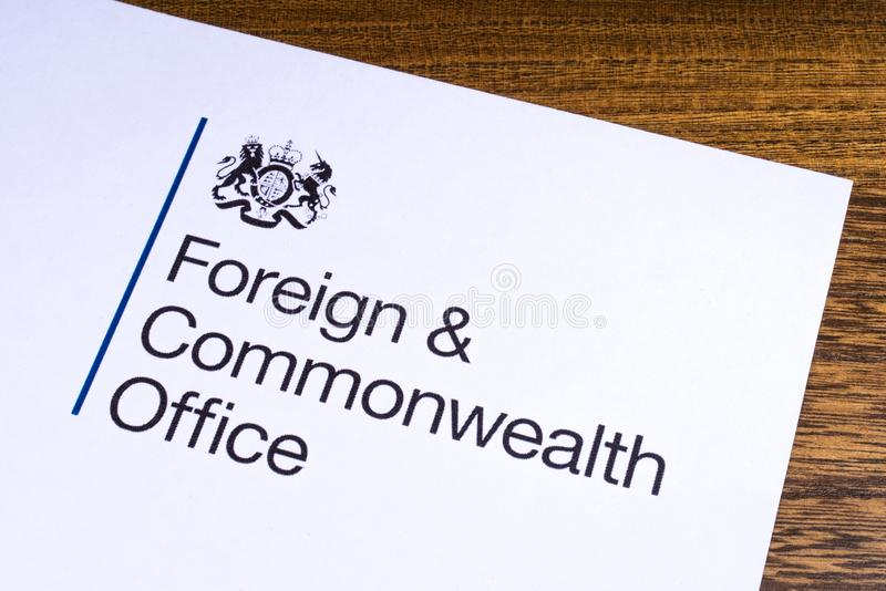 UK Foreign and Commonwealth Office. London, UK - March 12th 2019: Logo of the Foreign and Commonwealth Office, pictured on a piece of paper. The FCO is a royalty free stock photo