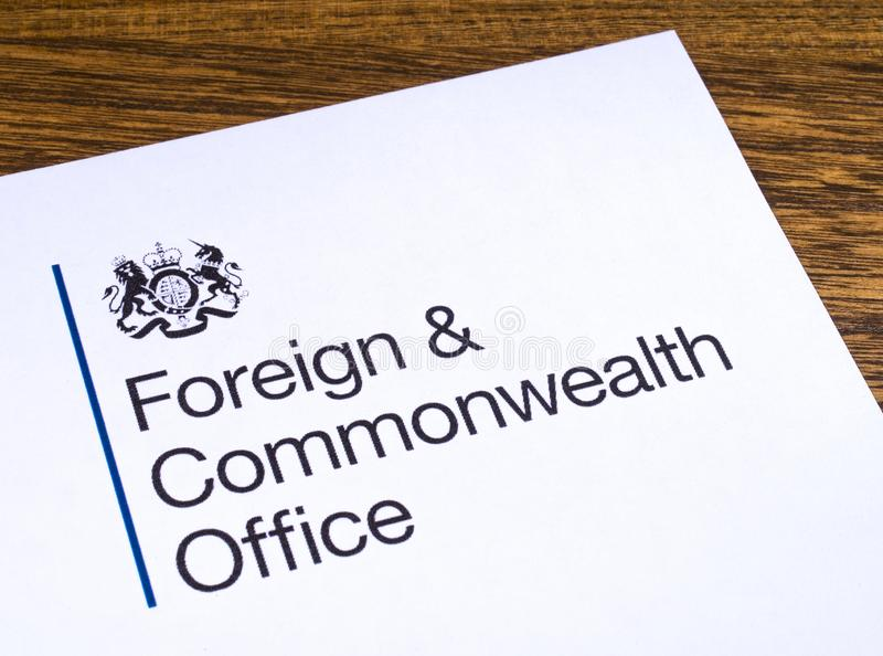 UK Foreign and Commonwealth Office. London, UK - March 12th 2019: Logo of the Foreign and Commonwealth Office, pictured on a piece of paper. The FCO is a stock photography