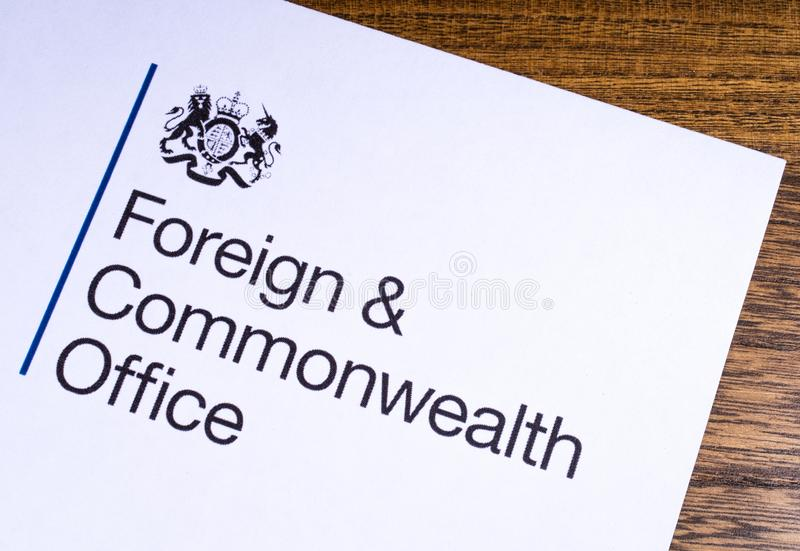 UK Foreign and Commonwealth Office. London, UK - March 12th 2019: Logo of the Foreign and Commonwealth Office, pictured on a piece of paper. The FCO is a stock images