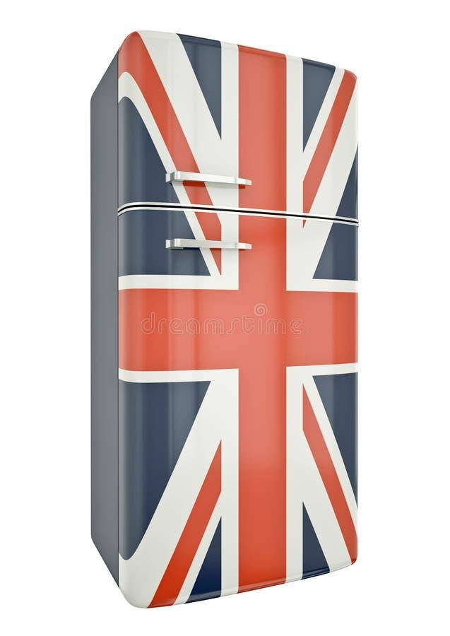 UK fridge. Union Jack fridge. 3D render royalty free illustration