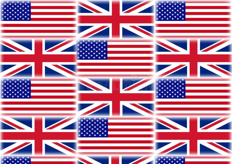 UK i usa flagi ilustracyjne zdjęcia royalty free
