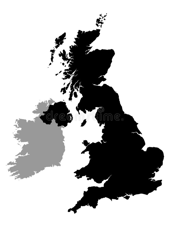 Uk and ireland map stock illustration