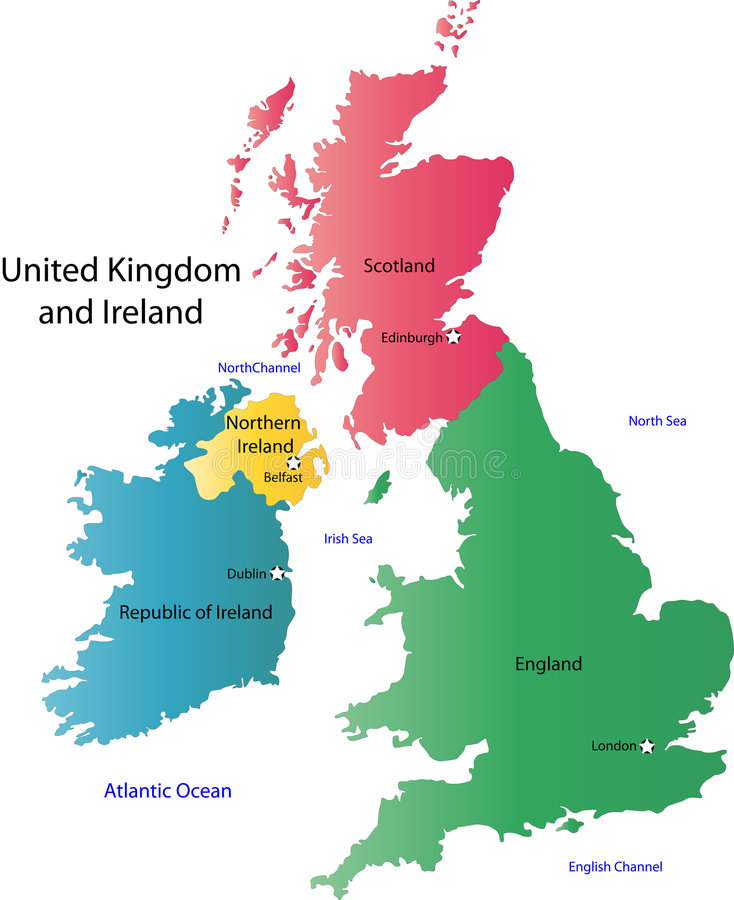 UK and Ireland map vector illustration