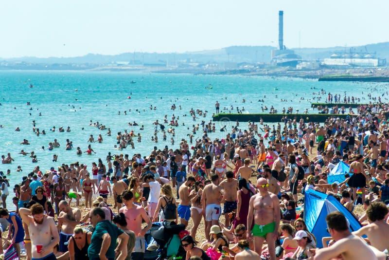 UK Juni 29th, 2019 Brighton strand, Brighton och Hove, East Sussex, England Det tusentals folket kopplar av på solen royaltyfria foton