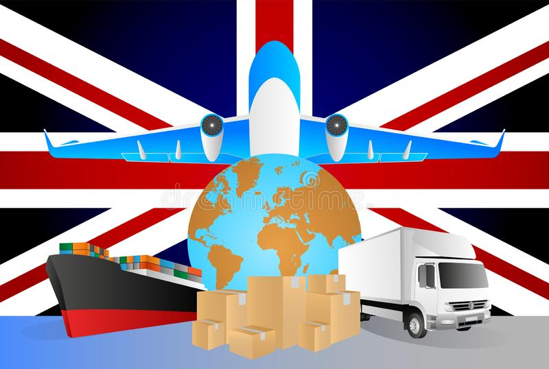 UK logistics concept illustration. National flag of UK from the back of globe, airplane, truck and cargo container ship. Vector illustration stock illustration
