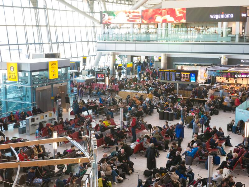 Heathrow airport in London, terminal 5. UK, London, Heathrow airport, terminal 5. 12/28/2017. The terminal was designed to handle 35 million passengers a year stock image