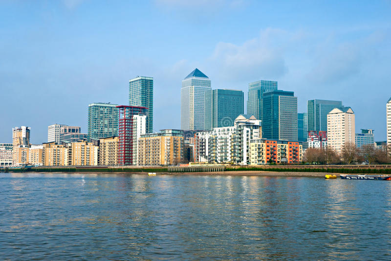 uk London kanarowy nabrzeże zdjęcie stock