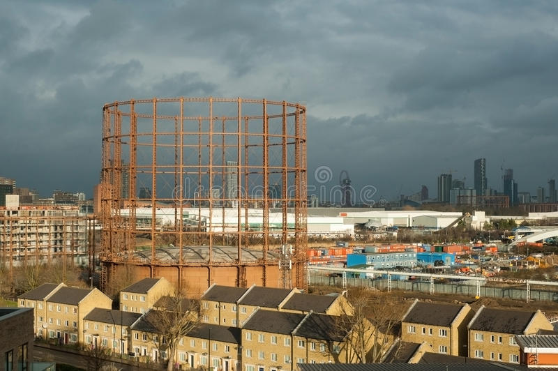 UK, London, The Oval Gasholder in the city view royalty free stock photography