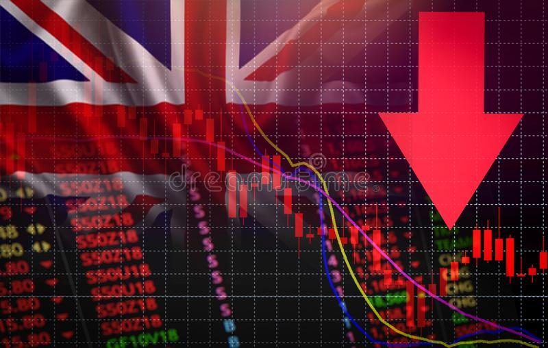 UK. London Stock Exchange market crisis red market price down chart fall Business and finance money crisis background red negative. UK. London Stock Exchange royalty free illustration