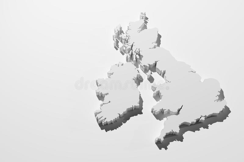 Uk map. 3d rendering of an UK map over a white background royalty free illustration