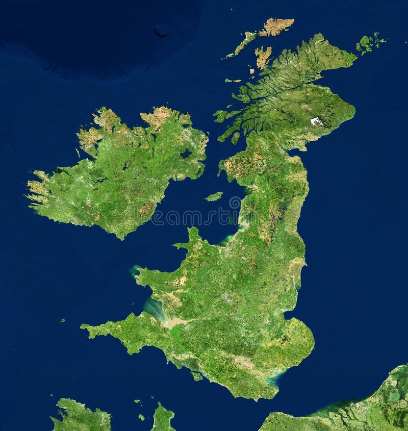 Free UK Map In Satellite Photo, England Terrain View From Space Royalty Free Stock Photo - 201312175