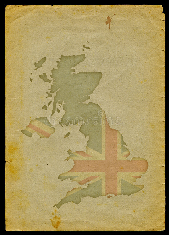 UK map on old paper I. UK map with flag inside engraved on a old paper page clipping path of the map is included vector illustration
