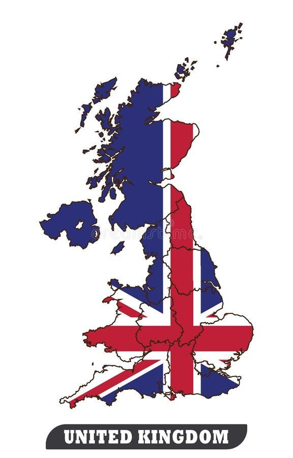 UK mapa i UK flaga royalty ilustracja