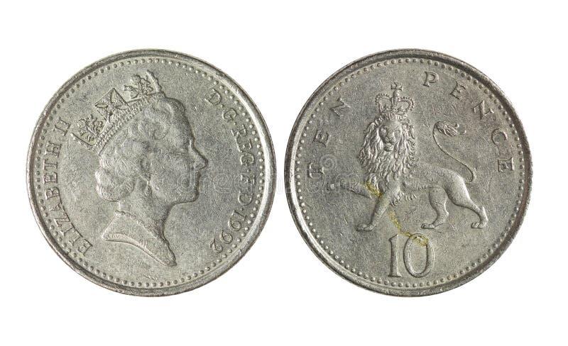 UK metalu pieniądze, 10 pens obraz royalty free
