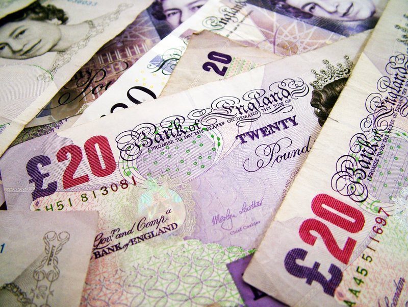 UK money. A photo of a of UK banknotes stock photo