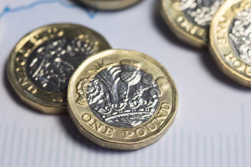 UK money, pound coins on financial chart stock photography