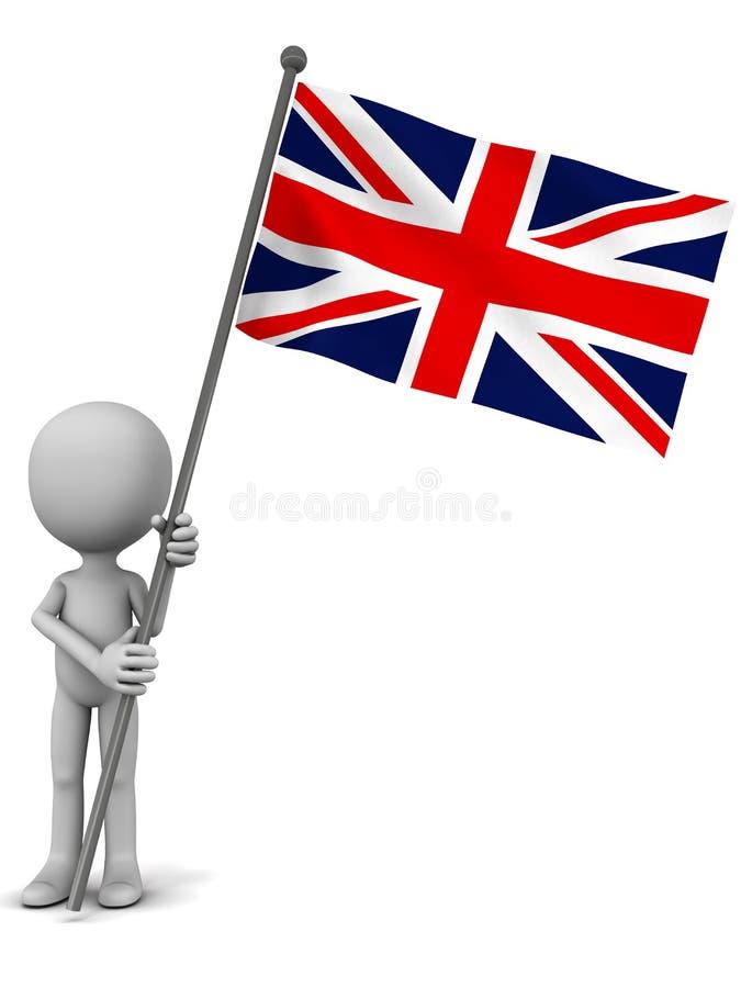 Uk national flag. Hoisted by a little 3d man, white background stock illustration