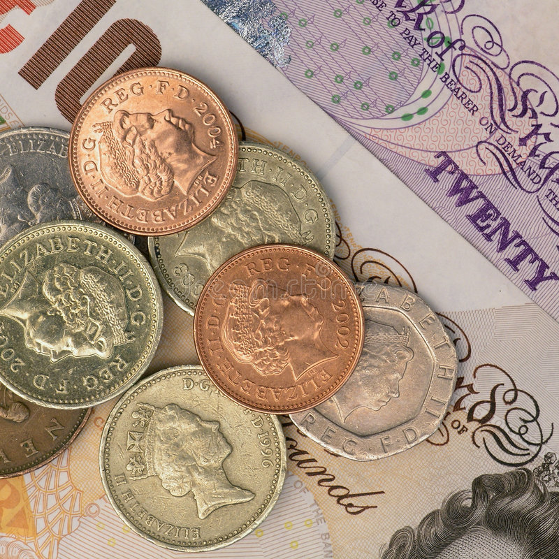 UK notes and coins stock photos